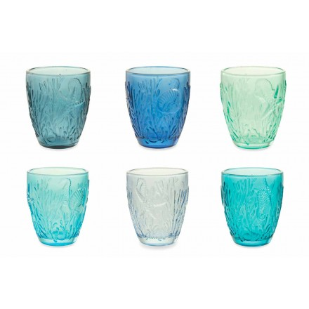 Nowoczesne niebieskie szklanki w kolorze 12 sztuk Water Service - Mazara