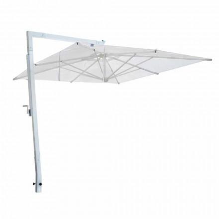 Parasol ogrodowy z białego aluminium i tkaniny Made in Italy - Mervin