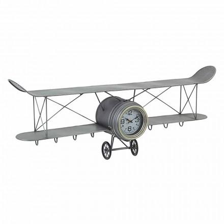 Zegar ścienny w kształcie samolotu ze stali i szkła Homemotion - Plano