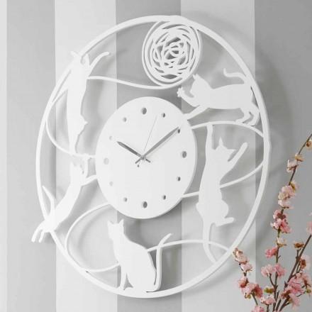 Duży nowoczesny okrągły kolorowy zdobiony zegar ścienny - Cat