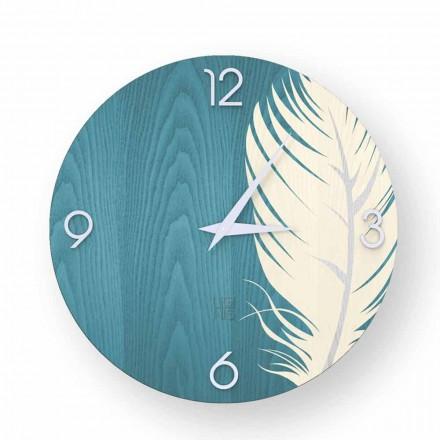 Zegar ścienny o nowoczesnym designie z drewna Pico, made in Italy