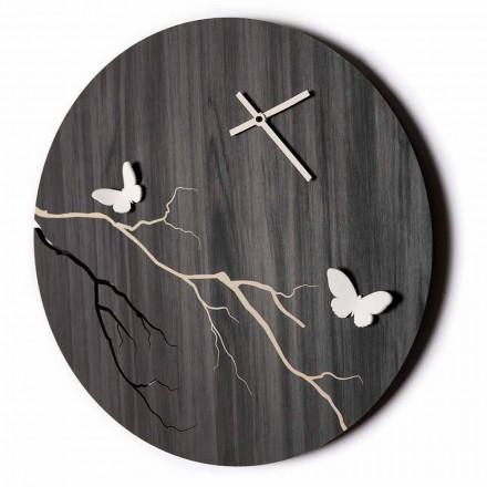Okrągły zegar ścienny z grawerowanego laserem drewna i motyli 3D - Farfo
