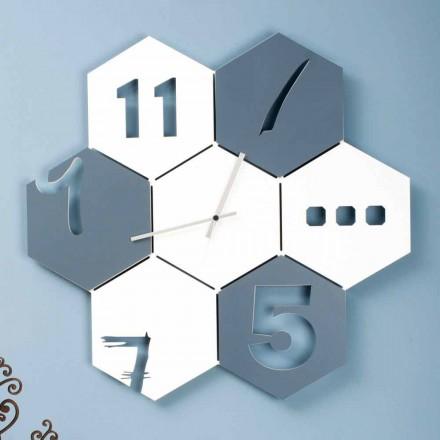 Duży zegar ścienny z kolorowego drewna, sześciokątny nowoczesny design - nidodape