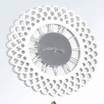 Zegar ścienny z białego drewna Duży i nowoczesny kwiatowy wzór - Gerbera