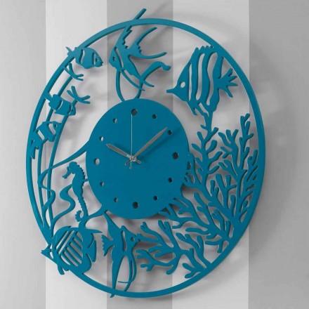 Duży nowoczesny kolorowy okrągły drewniany zegar ścienny - Infondoalmar