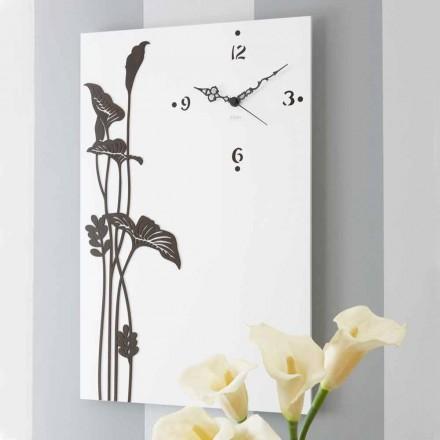 Nowoczesny prostokątny zegar ścienny z drewna dekorowanego na biało - Croco