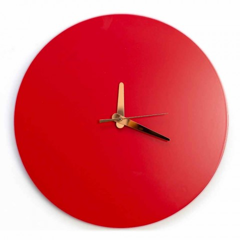 Czerwony zegar ścienny z włoską okrągłą i nowoczesnym wzornictwem z drewna - Callisto