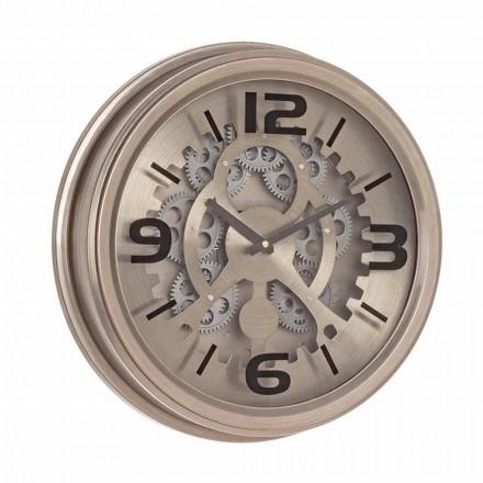 Klasyczny zegar ścienny ze stali i Mdf Homemotion - surowy