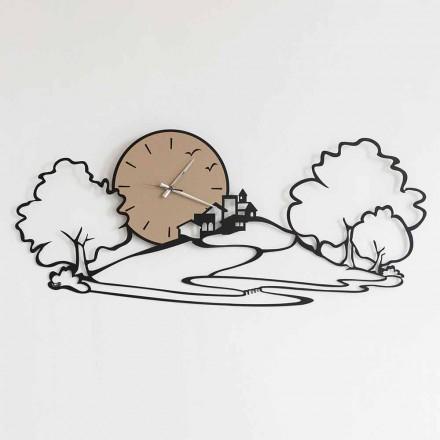 Zegar ścienny z pejzażem z czarnego żelaza lub błota Wykonany we Włoszech - Paesello