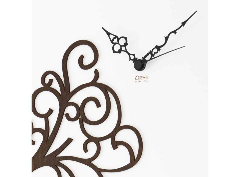 Biały Kwadratowy Drewniany Zegar Ścienny z Drzewem - Alberoeden