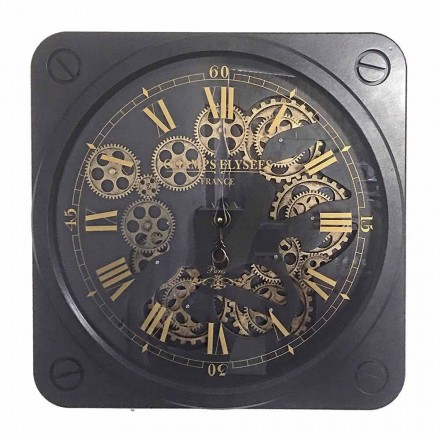 Zegar ścienny w stylu vintage ze stali, kwadratowy kształt Homemotion - Curzio