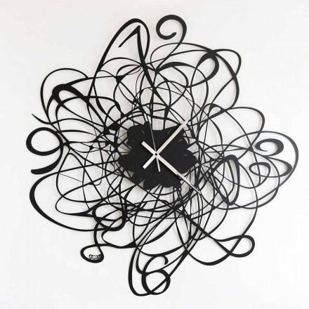 Nowoczesny zegar ścienny w kolorze czarnego żelaza lub bieli Made in Italy - Baldo