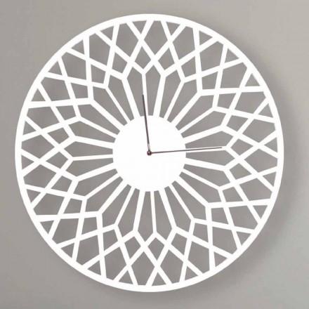Duży i nowoczesny zegar ścienny z okrągłego kolorowego drewna - Dandalo