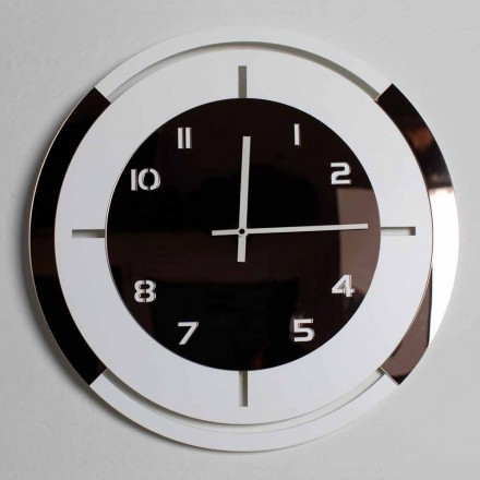 Zegar ścienny z białego drewna i brązu z dekoracjami o nowoczesnym designie - Mavia
