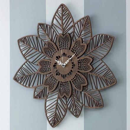 Zegar ścienny z jasnego lub ciemnego drewna z nowoczesnym motywem kwiatowym - Aquilegia