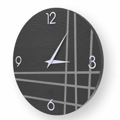 Zegar ścienny w drewnie Gorle, nowoczesny design, wykonany we Włoszech