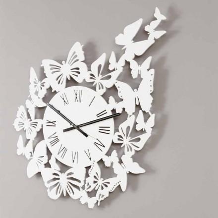 Zegar ścienny w kolorze drewna, nowoczesny design ozdobiony motylami - Papilio