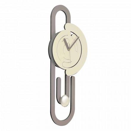 Nowoczesny zegar ścienny z wahadłem z drewna beżowo-brązowego - spinacz