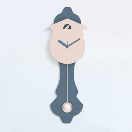 Nowoczesny zegar wahadłowy z szarego i różowego drewna - kukułka