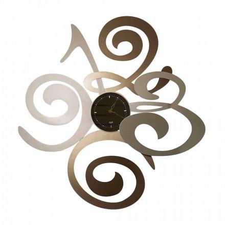 Zegar ścienny z lustrem w nowoczesnym stylu wykonany z żelaza - Włochy - chabrowy