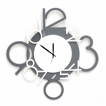 Duży i nowoczesny zegar ścienny z biało-szarego drewna - cyfra