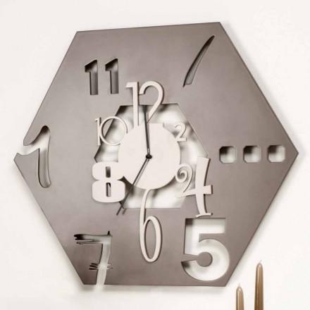 Duży drewniany zegar ścienny nowoczesny sześciokątny design - wielościan