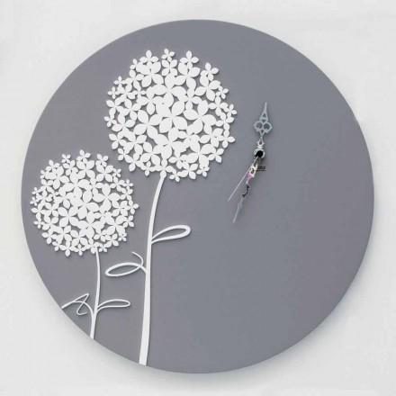 Nowoczesny design okrągły zdobiony zegar ścienny z szarego drewna - głowica prysznicowa