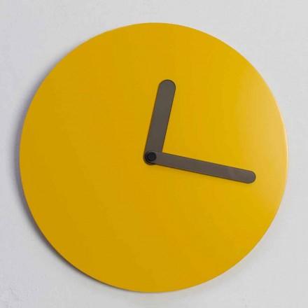 Nowoczesny okrągły zegar ścienny w kolorze ochry Made in Italy - Amaltea