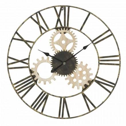 Okrągły zegar ścienny średnica 70 cm Nowoczesny design z żelaza i MDF - Jutta