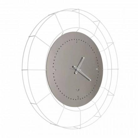 Nowoczesny lustrzany zegar ścienny z białej stali Made in Italy - Adalgiso