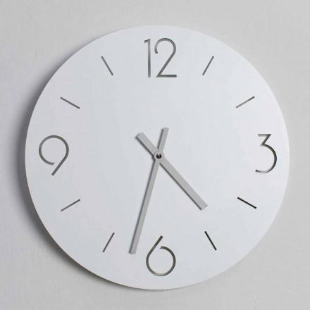 Klasyczny biały zegar ścienny z okrągłego drewna - Septymiusz