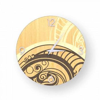 Adro abstrakcyjny zegar ścienny wykonany z drewna, wyprodukowany we Włoszech