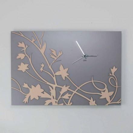 Nowoczesny szary prostokątny zegar ścienny z dekorowanego drewna - galu