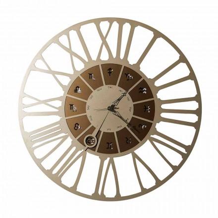 Wyprodukowany we Włoszech Dwukolorowy zegar ścienny w stylu Iron - Koziorożec