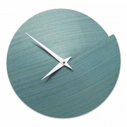 Zegar ścienny o nowoczesnym designie z naturalnego drewna Made in Italy - Cratere