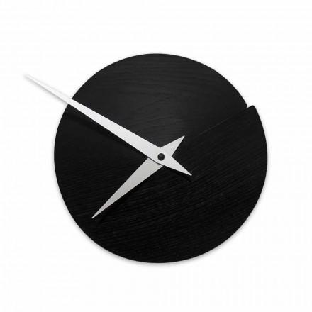 Okrągły zegar ścienny o średnicy 19,5 cm z drewna Made in Italy - Cratere