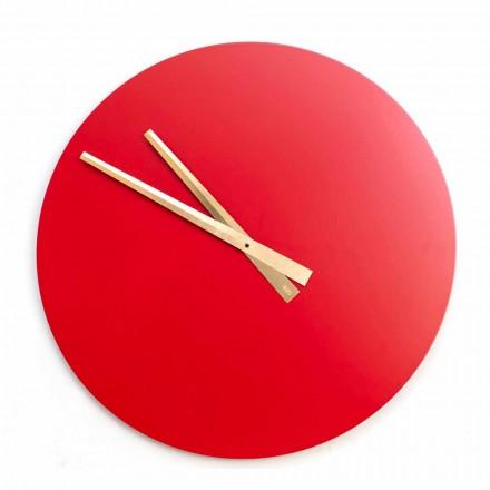 Duży kolorowy nowoczesny zegar ścienny z drewna okrągłego - Dione