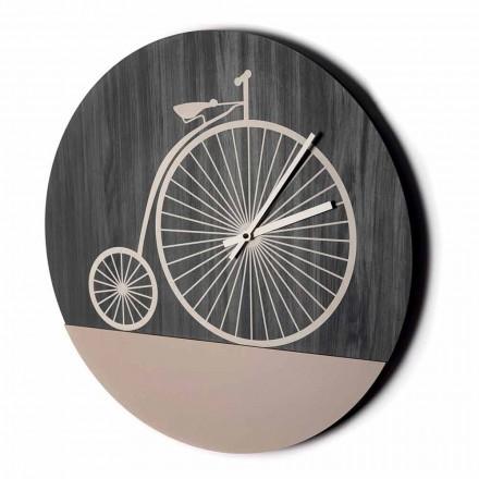 Zaprojektuj zegar ścienny z okrągłego drewna w 2 wykończeniach, wyprodukowany we Włoszech - Byko