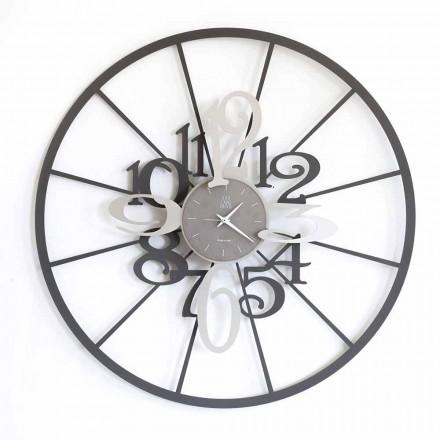 Nowoczesny okrągły dwutonowy zegar ścienny z żelaza Made in Italy - Calipso