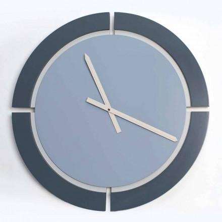 Nowoczesny okrągły zegar ścienny w kolorze biało-niebieskim Avio - Savio