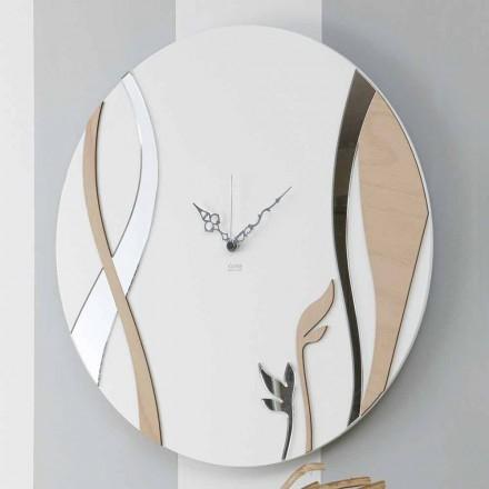 Nowoczesny okrągły zegar ścienny z dekorowanym drewnem - Harmony