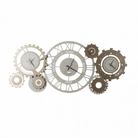 Nowoczesny żelazny zegar ścienny z trzema Fusi Made in Italy - Mechaniczny