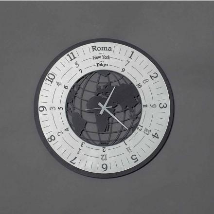 Nowoczesny zegar ścienny z czarnego żelaza lub łupków Made in Italy - World