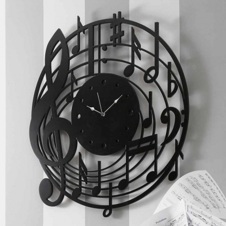 Nowoczesny okrągły czarny zegar ścienny z dekorowanego drewna - muzyka