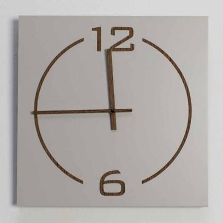 Kwadratowy i nowoczesny zegar ścienny z drewna beżowo-brązowego - Tabata
