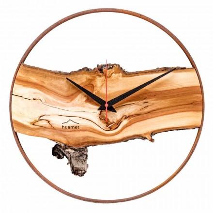 Okrągły zegar ścienny z litego drewna jabłoniowego Made in Italy - Sirmione