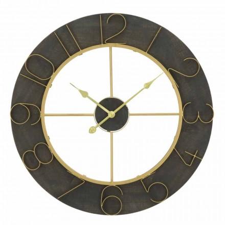 Okrągły zegar ścienny o średnicy 70 cm, nowoczesny design z żelaza i MDF - Tonia