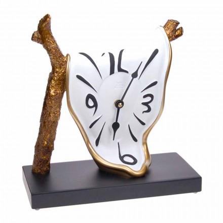 Nowoczesny zegar stołowy z ręcznie malowanej żywicy Made in Italy - Cyan
