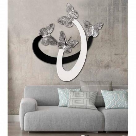 Nowoczesny zegar ścienny Zenia z eleganckimi motylami, kość słoniowa / czarny