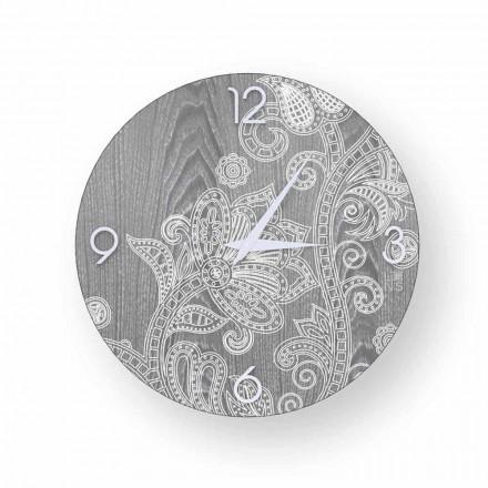 Zegar okrągły ściana design drewno Meolo, made in Italy